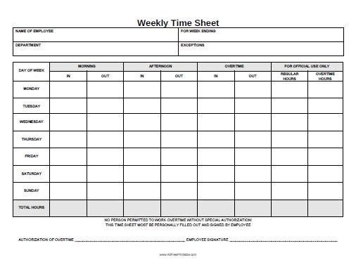 Free Printable Weekly Time Sheet Office STuff Pinterest – Time Card Template Free