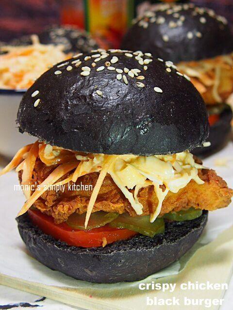 Burger Hitam Ayam Kriuk Resep Makanan Burger Aneka Roti