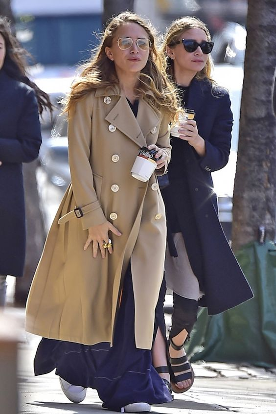 Olsens Anonymous Blog Mary Kate And Ashley Olsen Twins Style Spring Jacket Aviator Sunglasses Camel Tan Trench Coat Wide Leg Pants White Sneakers: