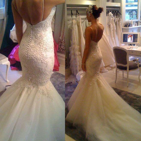 Wedding Dress Accessories Straps : Details about spaghetti strap mermaid wedding dress