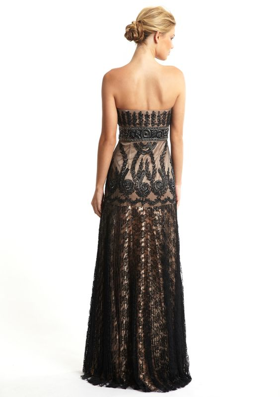 SUE WONG  Princess Cut Empire Waist Gown
