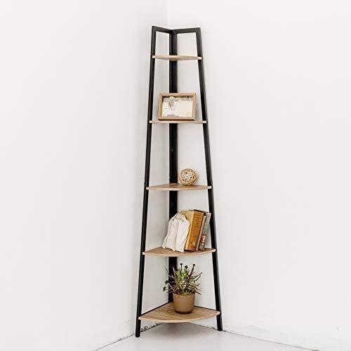 Ladder Shelf Storage Shelving Unit Bookcase Corner Rack Shelves Display Stand UK
