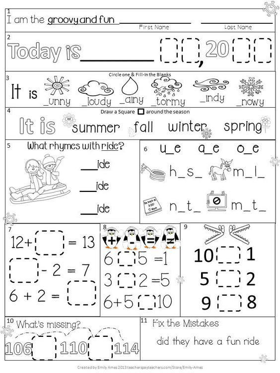 Worksheets Daily Morning Work 1st Grade morning work first grade january packet winter differentiated common core