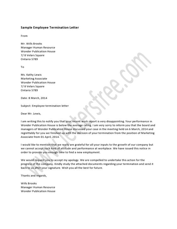 Doc529684 Employment Termination Letter Template Free – Separation of Employment Letter
