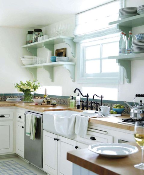 kitchen shelves and sink