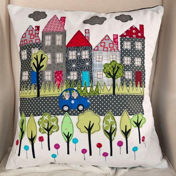 Street Scene handmade Applique Cushion by LucyLevenson on Etsy