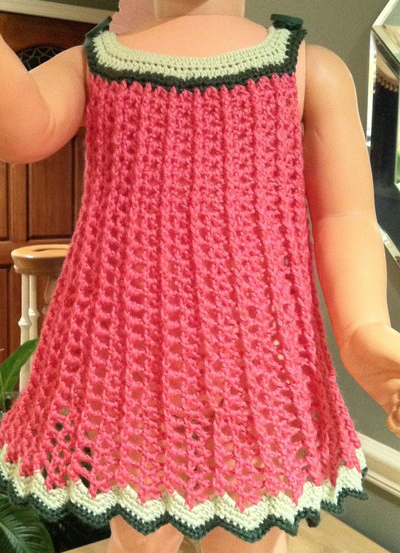 Free Crochet Watermelon Dress Pattern : Watermelon, Colors and Tops on Pinterest