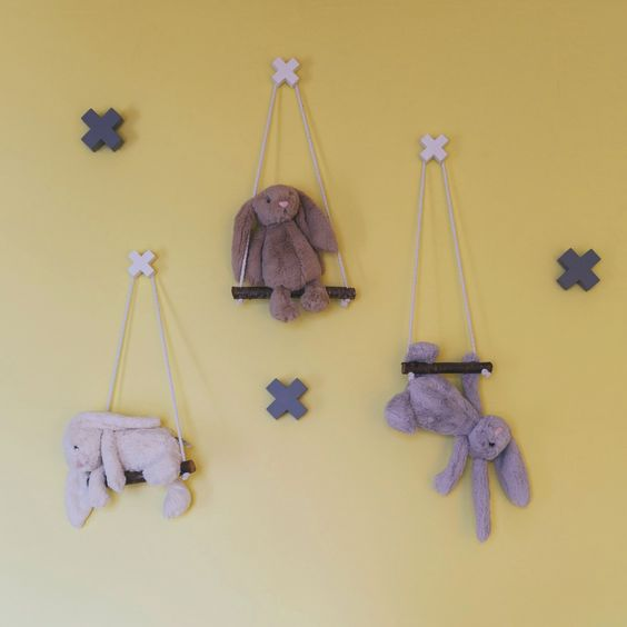 as seen in the June 14 issue of your home & garden, these beautiful bespoke toy branches designed by Alice & Caleb will give any room a fun and whimsical aspect.  made of natural timber and 100% cotton rope. hooks and bunnies sold sperately.