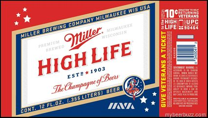 Miller High Life - 12oz Donation To Help Returning Veterans Can