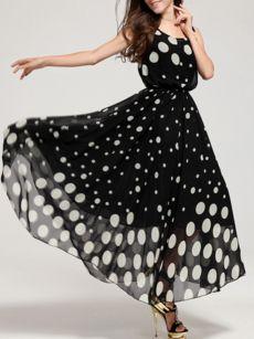 Polka Dot Charming Chic Maxi-dress