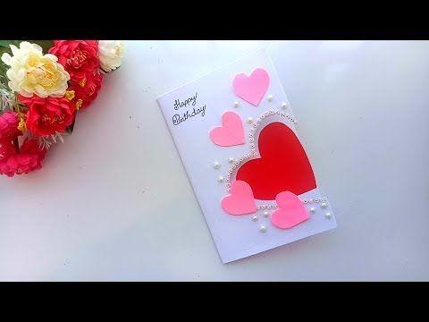 Beautiful Handmade Birthday Card Birthday Card Idea Youtube Simple Birthday Cards Homemade Birthday Cards Valentine Cards Handmade