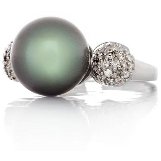 Belk  Co. Black 14K White Gold Tahitian Pearl And Diamond Ring ($665) ❤ liked on Polyvore featuring jewelry, rings, black, 14k white gold jewelry, tahitian pearl diamond ring, diamond rings, tahitian pearl ring and tahitian pearl jewelry