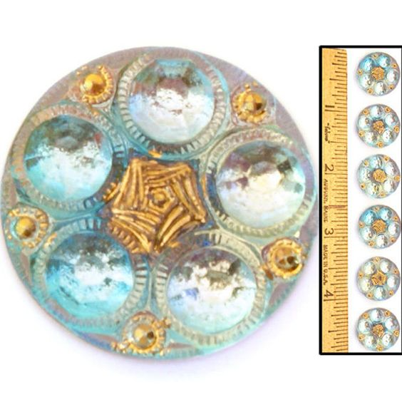 18mm Vintage Czech Glass Mirror Back Crystal AB Faceted Flower Dots Buttons 6pc