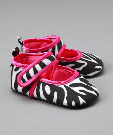 Take a look at this Pink & Zebra-Print Mary Jane by Baby Bella Maya on #zulily today!