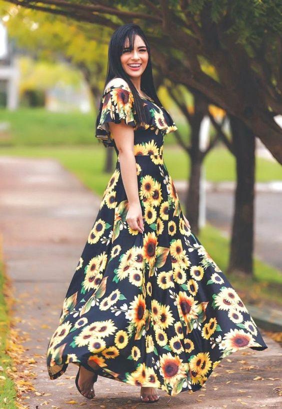 Vestido Longo Ciganinha Girassol - Moda Evangélica - Flor de Amêndoa