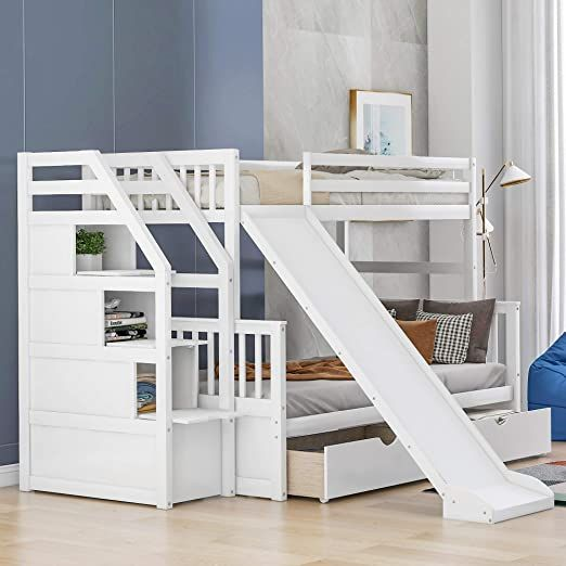 Merax Twin Over Full Bunk Bed With Drawers Storage And Slide Multifunction Wood Loft Bed For Kids Adults Can Loft Bed Bunk Beds With Stairs Full Bunk Beds