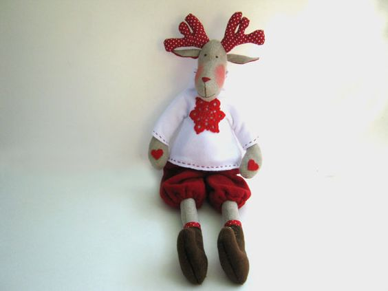 Reindeer Rudolf-fabric Tilda dollstuffed dollcloth doll by LyuToys