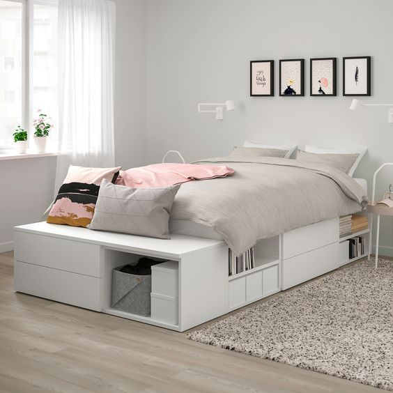 Saves floor space by gathering sleep and storage in one place - perfect for small bedrooms or one-bedroom apartments. Create an interesting room dynamic by placing the bed in the middle of the room This versatile bed can also be used as a room divider or part of a walk-in closet solution.