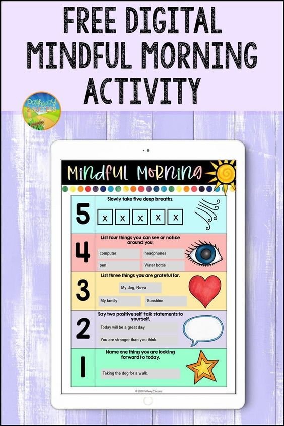 Grab this FREE mindfulness activity for the morning. Use is as a poster, print it out, or use the digital version for distance learning and beyond. It's a simple 5 step activity to create a more mindful morning! #pathway2success