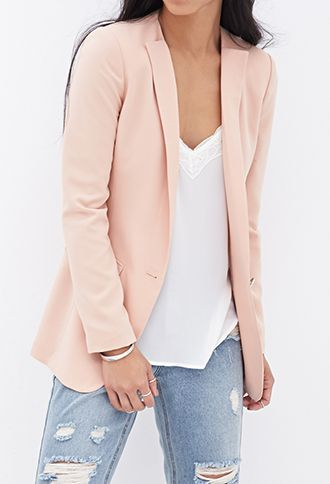 Collarless Boyfriend Blazer | FOREVER21 - 2000069114 | Fashion ...
