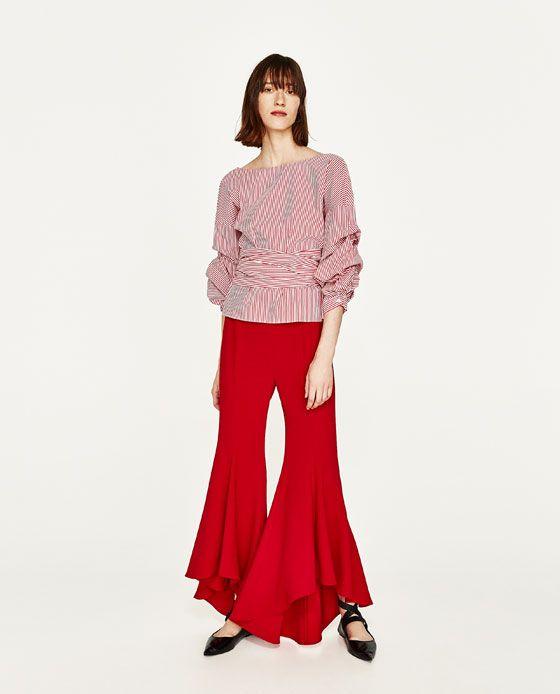 Zara PANTALON FLARE ASYMÉTRIQUE rouge Spring 2017.