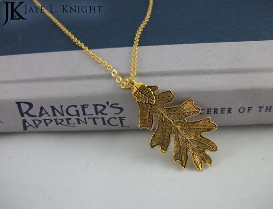 Gold Oak Leaf Ranger's Apprentice Inspired Pendant by JayeLKnight