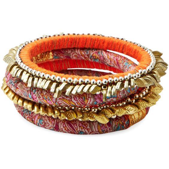 Rosena Sammi Set Of 4 Orange Fringe Bangle Bracelets ($45) ❤ liked on Polyvore featuring jewelry, bracelets, orange, orange bangle, fringe jewelry, plastic bangles, hinged bangle and bracelets & bangles