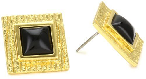 "Trina Turk ""Textured Gold"" Textured Square Post Stud Earrings Trina Turk. $65.00. Black resin center. Made in China. Black resin center Made in CN. Textured gold"