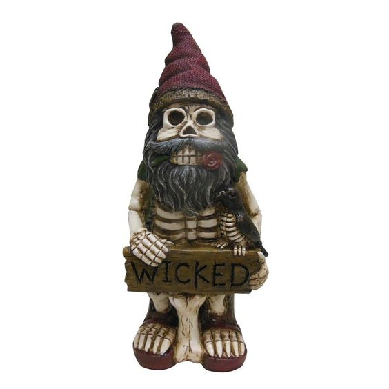 A skeletal yard gnome is exactly what you need for your garden this Halloween.