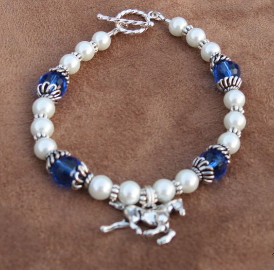 Pearl & blue crystal Horse charm toggle by Itsallabouthorses, $20.00