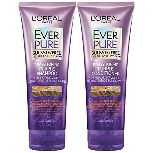 L Oreal Paris Everpure Sulfate Free Brass Toning Purple Shampoo And Conditioner Kit For Blonde Blea Purple Shampoo Purple Shampoo And Conditioner Pure Shampoo