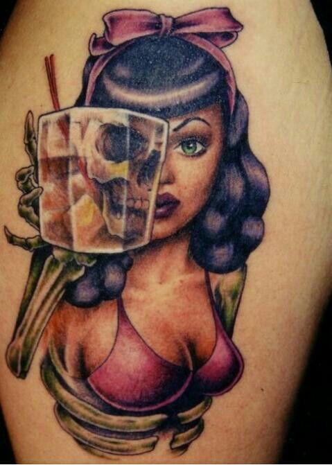 ZOMBIE TATTOO / HALF DEAD TATTOO / PIN UP GIRL TATTOO ... | Cool tatt ...