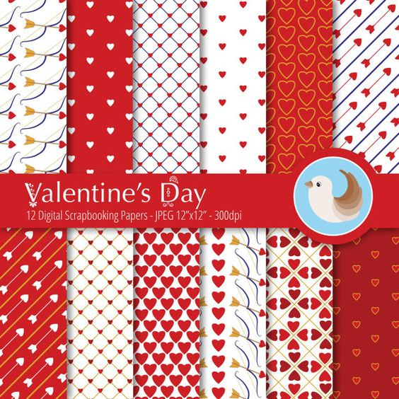 Valentine's Day Digital Paper  Red and White by CinnamonDove
