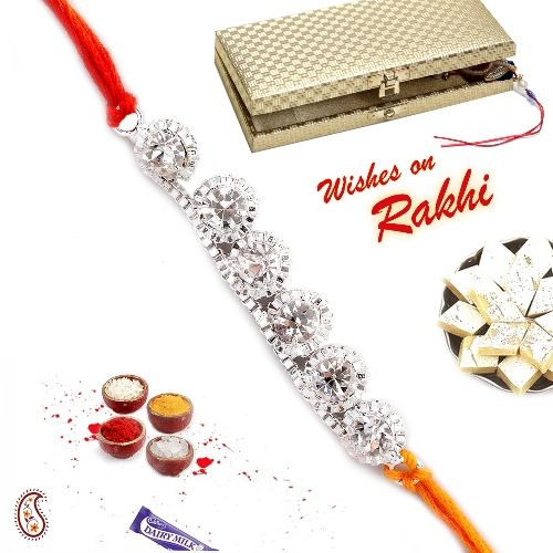 For your wonderful brother send the love and affection this Raksha Bandhan with this Silver Rakhi with white stones.