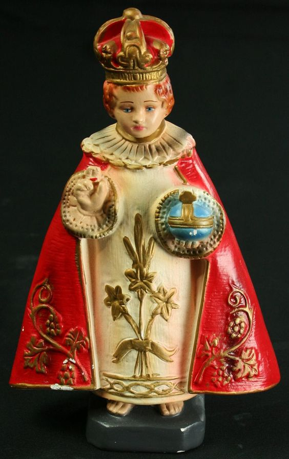 Vintage Chalkware Sculpture of the Infant Jesus Child of Prague in Crown & Robe: