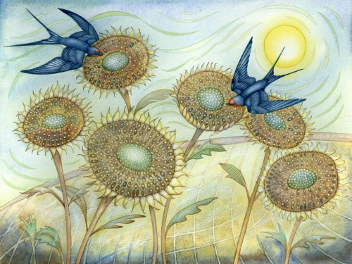 Swallows and Sunflowers by Kate Green: