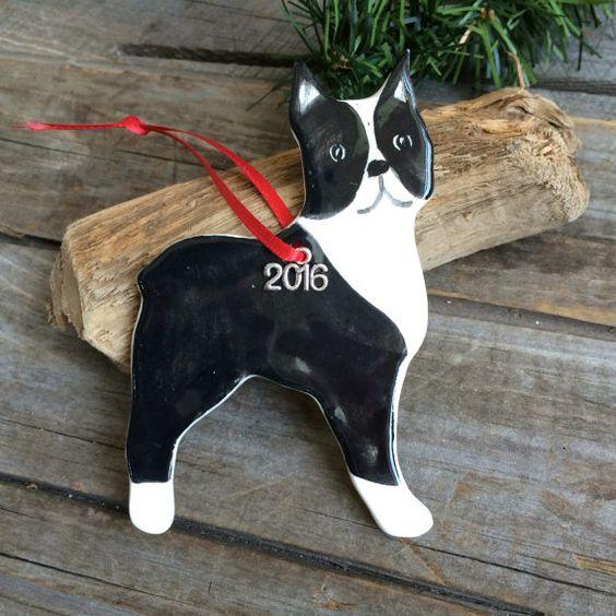 Boston Terrier ornament 2016 AKC Boston Terrier by BeachwoodStreet