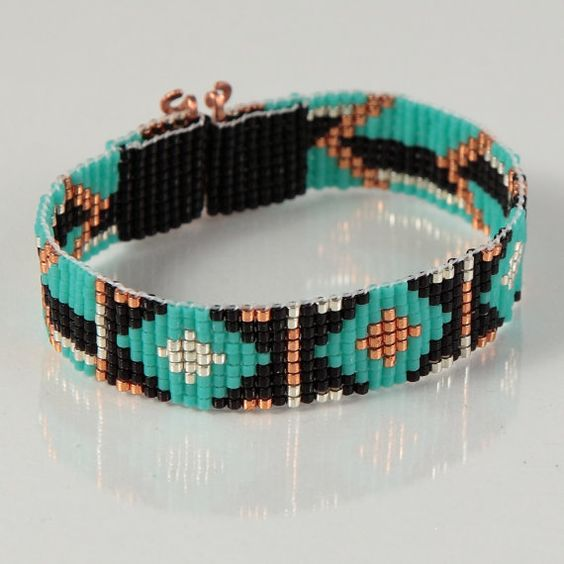 Flèches tribales de billes Loom Bracelet, bijoux artisanaux, Style amérindien, sud-ouest, Bohème, Hippie Chic, Turquoise, noir