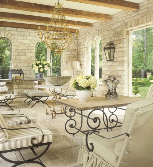 French Country outdoor living - Chateau Domingue and Pamela Pierce.