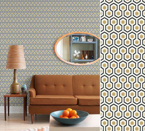papier peint vintage hick 39 s hexagon salon pinterest hexagones fils et magazines. Black Bedroom Furniture Sets. Home Design Ideas