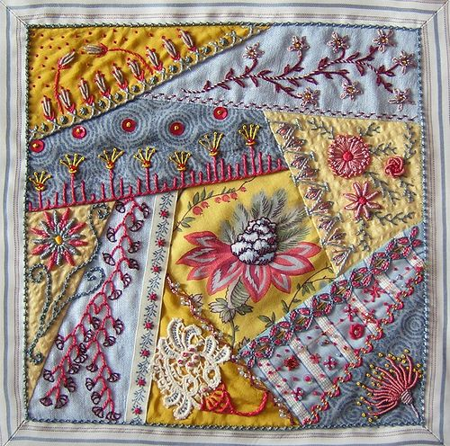 Center of cushion.  crazy quilting by  Anne Nicolas-Whitney (Brodani):