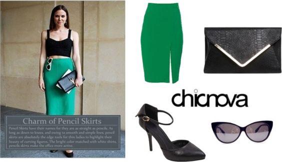"""Charm of Pencil Skirts-Chicnova Street Style"" by chicnova ❤ liked on Polyvore"