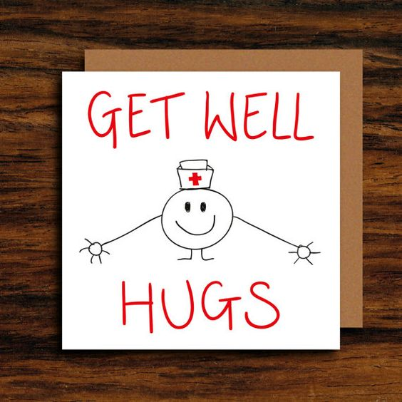 Cute Get Well Card ∙ Unique Illustration Get Well Soon Greeting Card ∙ Funny Get…: