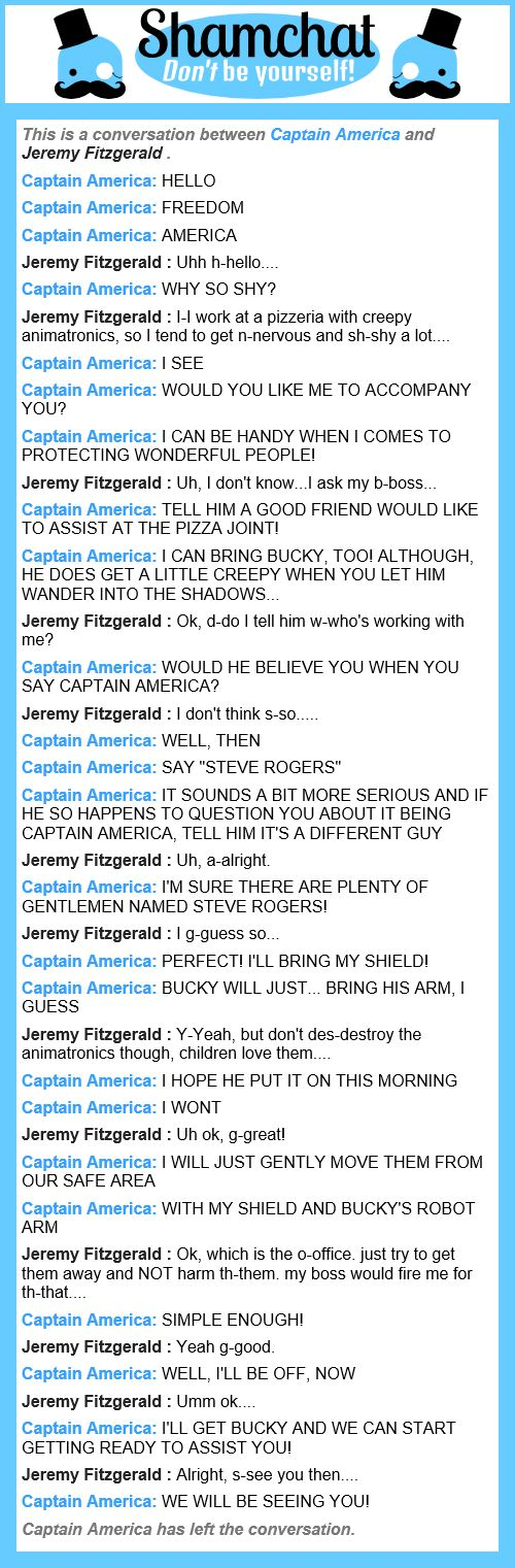 A conversation between Jeremy Fitzgerald and Captain America xD