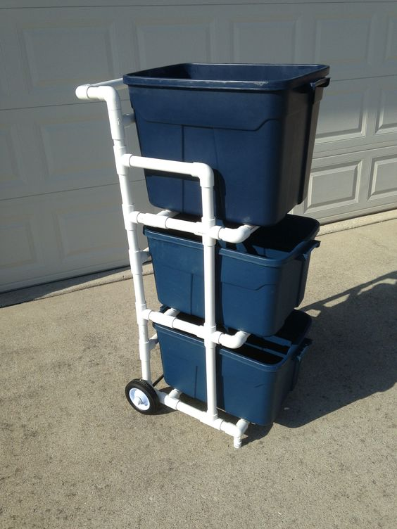 recycle bin cart made from pvc storage pinterest. Black Bedroom Furniture Sets. Home Design Ideas