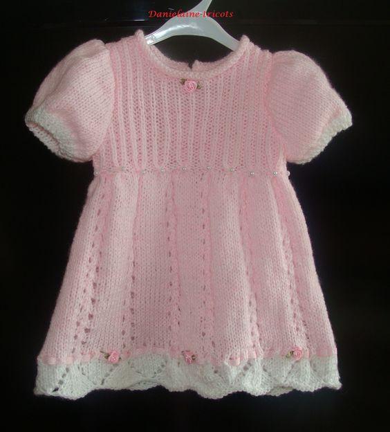 Commande robe rose tricot e la main pour b b 3 mois mode b b par danielaine tricots - Tricot a la main ...
