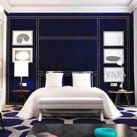 Blue Color Schemes Enhancing Modern Bedroom Decorating: Only You Hotel & Lounge Madrid