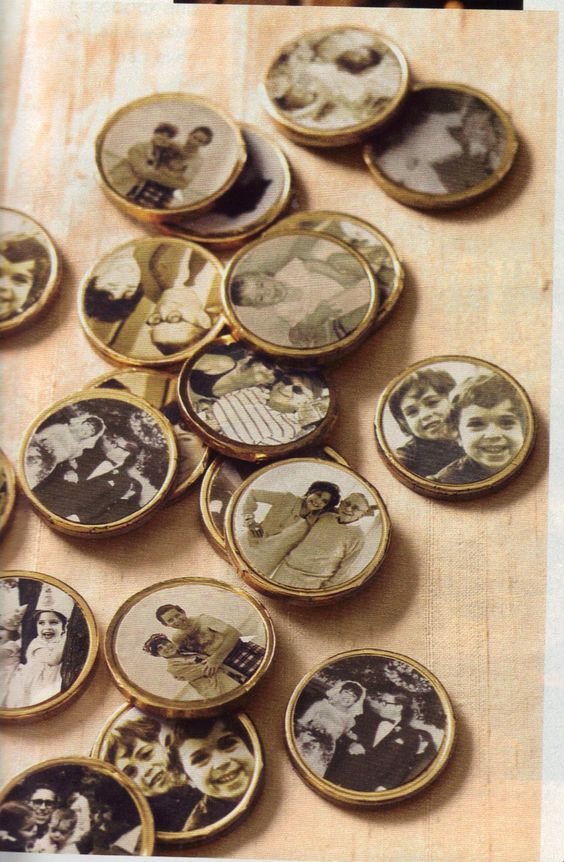 Chocolate coins with personal pictures.  Pictures printed on regular label paper.
