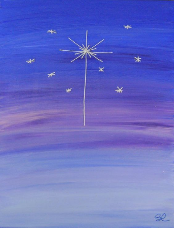 Star of Bethlehem: Try drawing stars with white crayon and then have children paint with watercolors over entire page.: