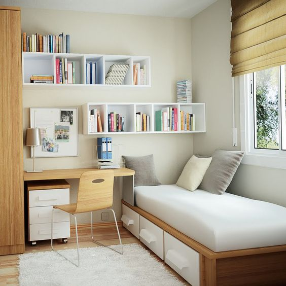 Guest Room - By taking your current study, and downscaling the desk size and adding in a bed you will have an office and storage when you need it and a spare room ready for those expected (and unexpected) visitors.: